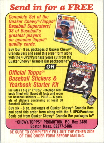 Photo of 1986 Quaker Granola #NNO Offer Card for/the complete set