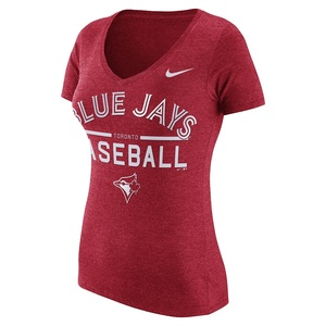 Toronto Blue Jays Women's Practice V-Neck 1.7 Red T-Shirt by Nike