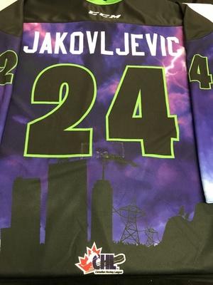#24 Marko Jakovljevic Autographed game worn Sarnia Sting Esports jersey