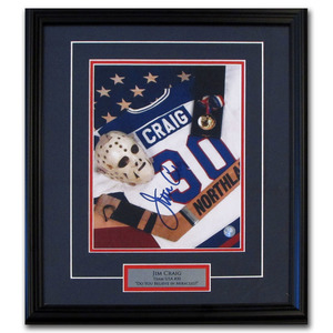 Jim Craig Autographed 1980 Miracle On Ice Team USA 16X20 Framed Photo w/DO YOU BELIEVE IN MIRACLES? Inscription