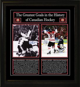 Sidney Crosby & Paul Henderson - Signed & Framed 8x10 Photos - Canada's Greatest Goals
