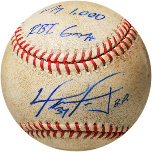 Photo of Autographed Game-Used Baseball from David Ortiz's 1000th Career RBI Game, Inscribed - My 1000 RBI Game