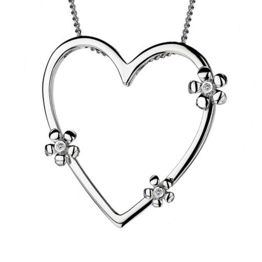 Hot Diamonds Plumbago Heart Pendant with Signature Diamonds DP235