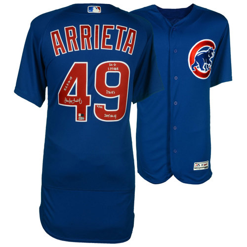 Photo of Jake Arrieta Chicago Cubs Autographed Majestic Blue Authentic Jersey with 2015 Stats Inscriptions - #49 In a Limited Edition of 49 - Size 44