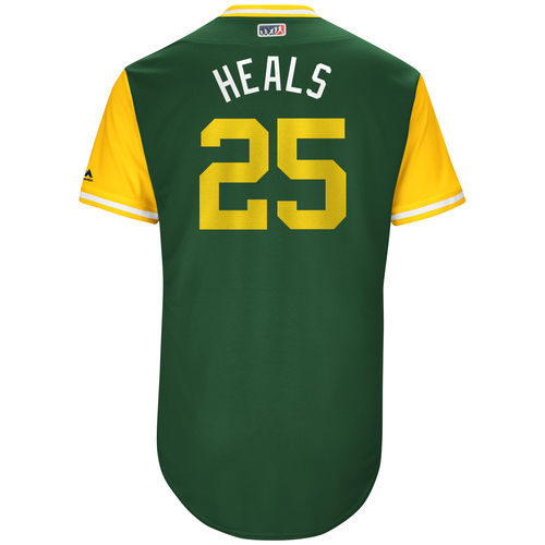 "Photo of Ryon ""Heals"" Healy Oakland Athletics Game-Used Players Weekend Jersey"