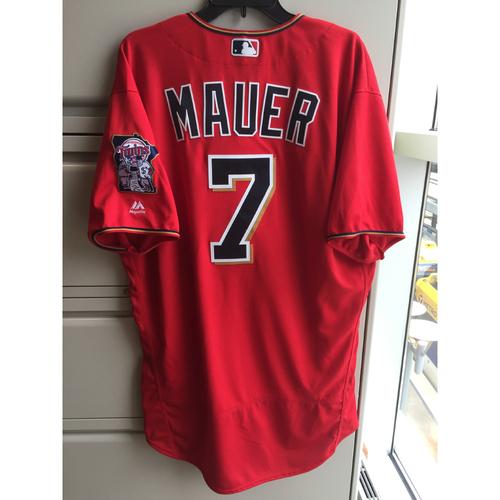 Photo of 2016 Joe Mauer Game-Used Scarlett Jersey (Passed Killebrew)