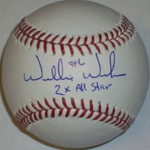 "Photo of Willie Wilson ""2x AS"" Autographed Baseball"