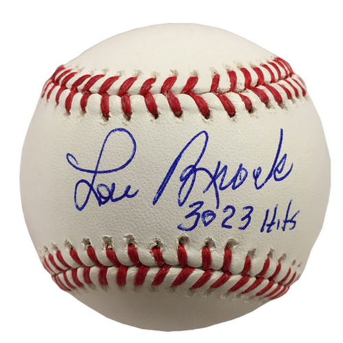 Cardinals Authentics: Lou Brock Autographed and Inscribed Hits Autographed Baseball
