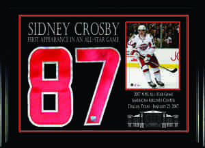 Sidney Crosby - Signed & Framed Jersey Number Etched Mat - 2007 All-Star Jersey Numbers
