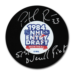 Patrick Roy Autographed 1985 NHL Entry Draft Puck w/51ST OVERALL PICK Inscription (Montreal Canadiens, Colorado Avalanche)
