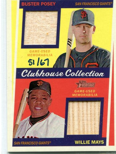 Photo of 2016 Topps Heritage Clubhouse Collection Dual Relics bats Buster Posey/Willie Mays 51/67