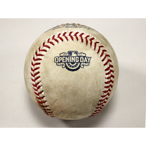 Photo of Santiago Casilla / Andrelton Simmons (LAA) Foul - 2017 Opening Day Ball
