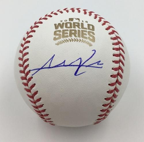 Photo of Addison Russell Autographed 2016 World Series Logo Baseball
