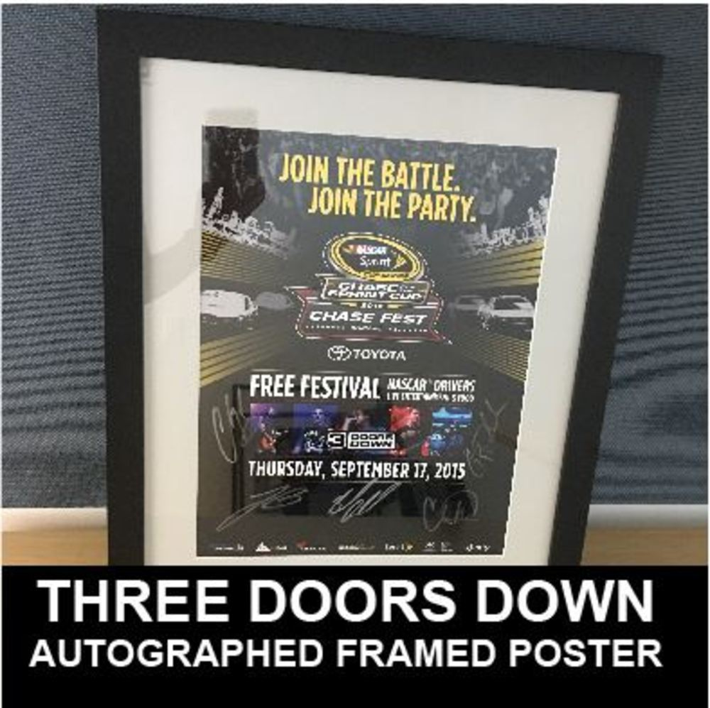 3 Door Down Autographed Chicagoland Concert Poster Framed