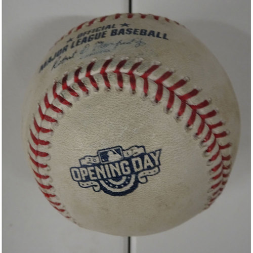 Photo of Game-Used Ball Used for the First Pitch by the San Diego Padres at SunTrust Park - April 14, 2017
