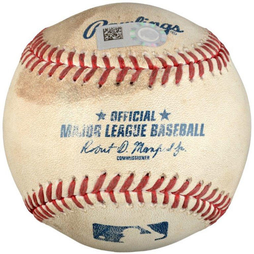 Photo of Danny Valencia Oakland Athletics Game-Used Baseball vs. Texas Rangers on August 16, 2016 - Top of 9 Single With RBI To Tie Game