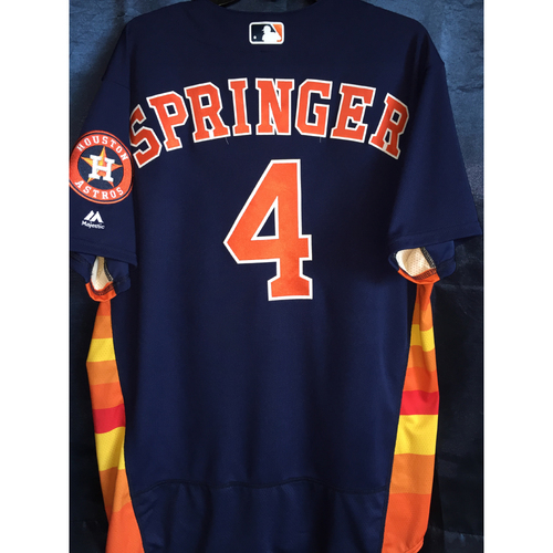 Photo of Game-Used George Springer AL West Division Clinch Jersey