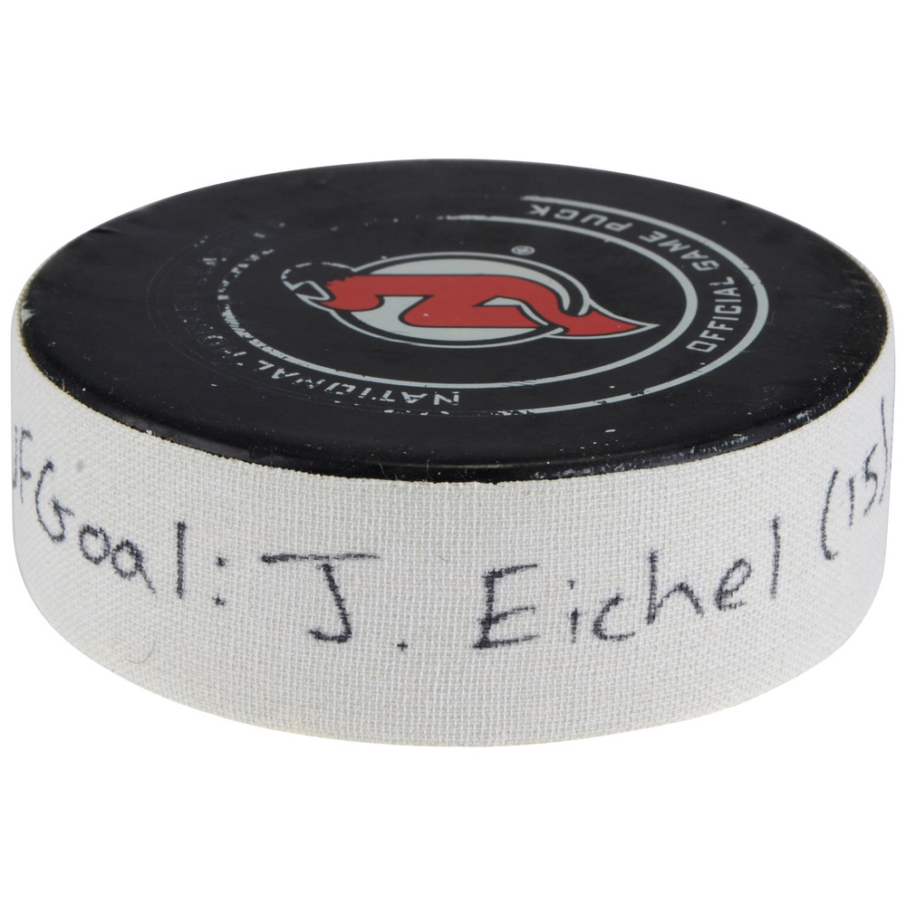 Jack Eichel Buffalo Sabres Game-Used Goal Puck vs. New Jersey Devils on December 29, 2017 - Second of Two Goals Scored