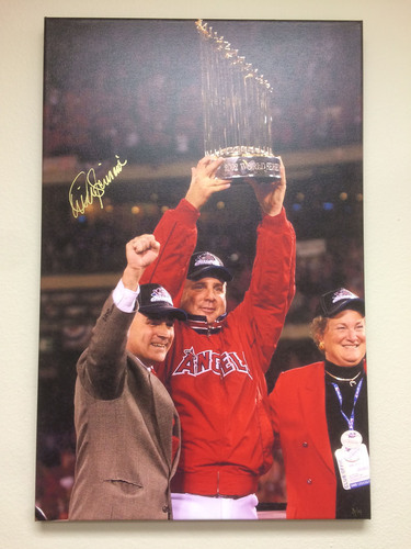 Photo of Mike Scioscia Autographed World Series Trophy Canvas