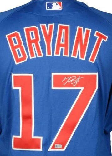 Photo of Kris Bryant Autographed Authentic Cubs Jersey - Blue