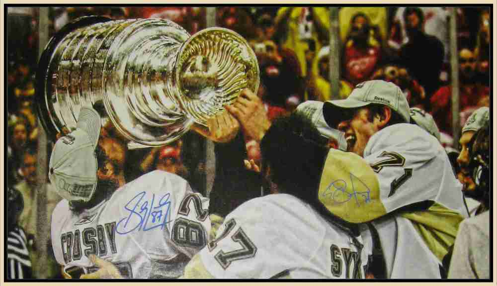Sidney Crosby & Evgeni Malkin - Dual Signed 14x28 Pittsburgh Penguins Cup Celebration Canvas