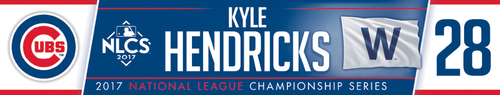 Photo of Kyle Hendricks Game-Used Locker Nameplate -- NLCS Game 4 -- Dodgers vs. Cubs -- 10/18/17