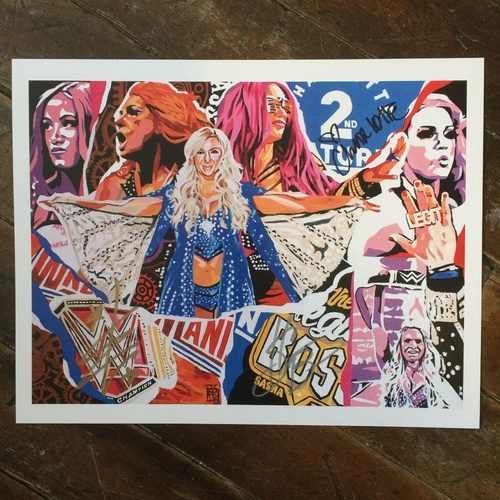 "Photo of Charlotte, Becky Lynch, & Sasha Banks SIGNED 11"" x 14"" Rob Schamberger Print"