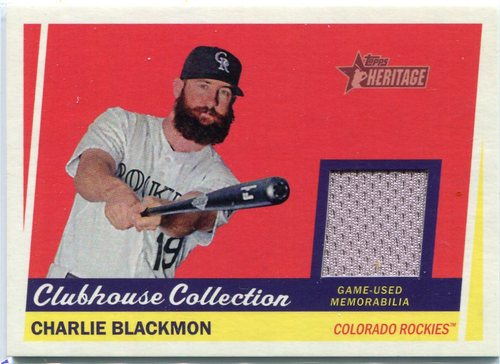 Photo of 2016 Topps Heritage Clubhouse Collection Relics game worn jersey Charlie Blackmon