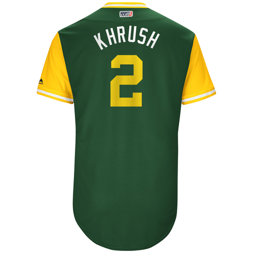"Photo of Khris ""Krush"" Davis  Oakland Athletics Game-Used Players Weekend Jersey"