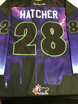 #28 Kelton Hatcher Autographed game ready Sarnia Sting Esports jersey