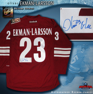 OLIVER EKMAN-LARSSON Signed Phoenix Coyotes Red Reebok Jersey