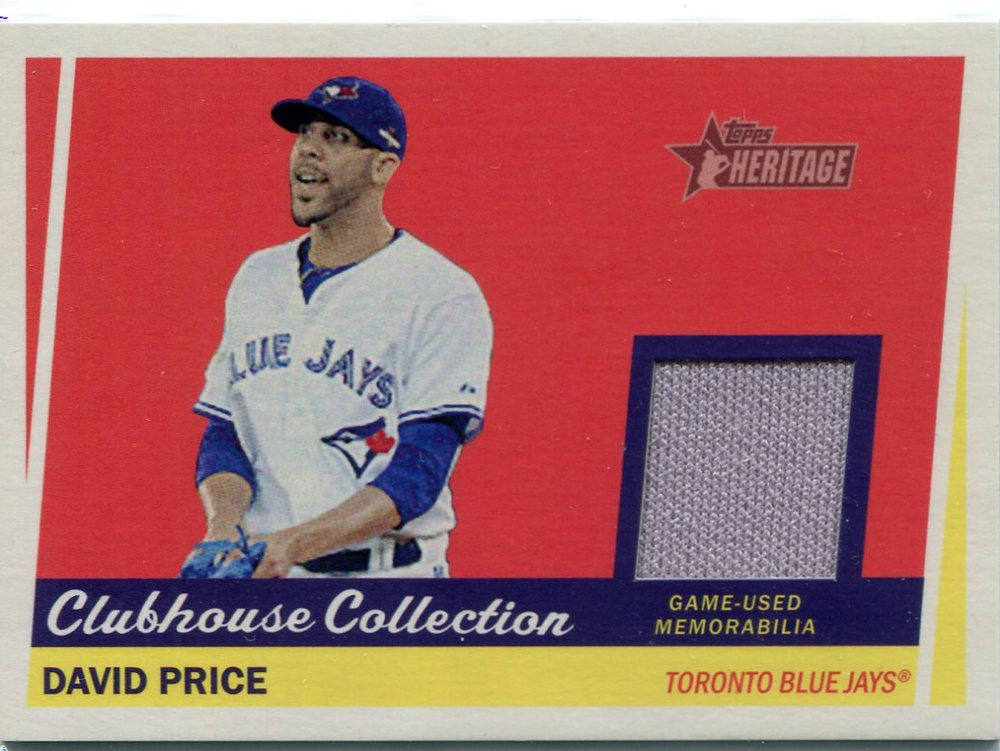 2016 Topps Heritage Clubhouse Collection Relics game worn jersey David Price