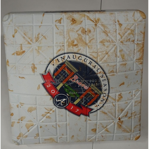Photo of Game-Used 2nd Base Used During Inning 6 - Opening Day at SunTrust Park - April 14, 2017 - First HR Hit during this Inning