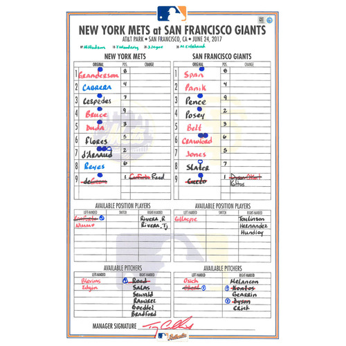 Photo of Game Used Lineup Card - deGrom Earns 7th Win of 2017; 8 IP, 1 R, 7 K - Mets Win 5-2 - Mets vs. Giants - 6/24/17