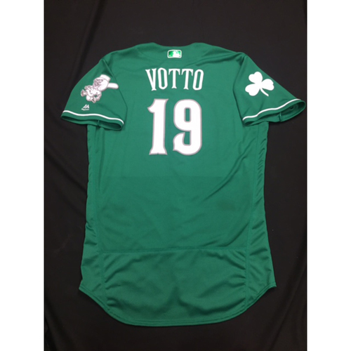 Photo of Joey Votto -- Game-Used -- Irish Heritage Jersey -- Worn for Bronson Arroyo Farewell Game -- Red Sox vs. Reds -- 9/23/2017