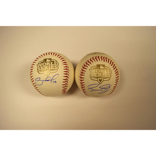 Photo of Pablo Sandoval and Bruce Bochy Autographed Official 2012 World Series Baseballs