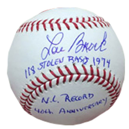 Cardinals Authentics: Lou Brock inscribed 118 stolen bases 1974, N.L. Record 40th Anniversary Autographed Baseball