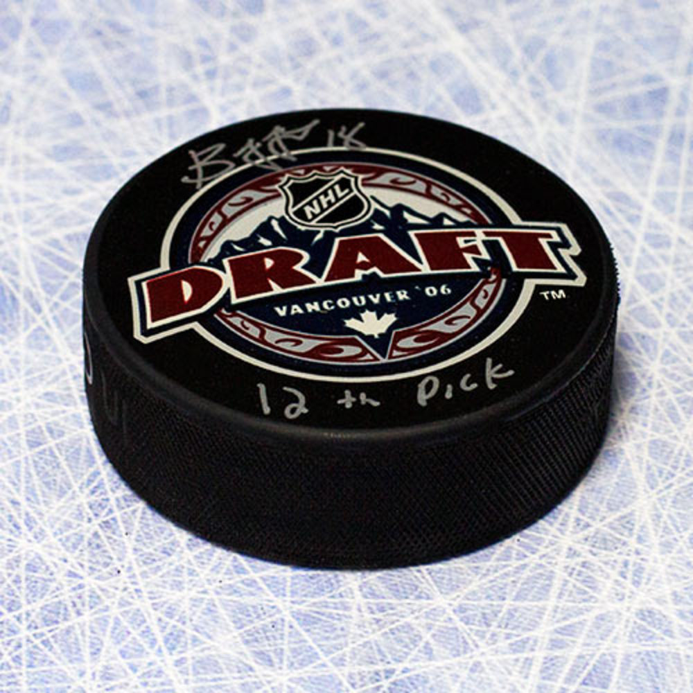 Bryan Little 2006 NHL Draft Day Autographed Puck w/ 12th Pick Inscription *Winnipeg Jets*
