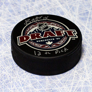 Bryan Little 2006 NHL Draft Day Puck Autographed W/ 12th Pick Inscription *Winnipeg Jets*