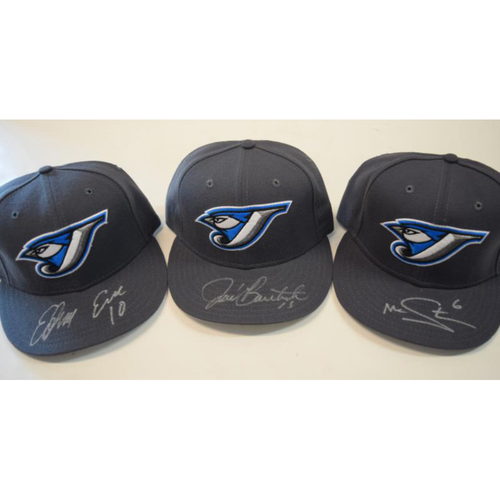 Photo of Jose Bautista, Edwin Encarnacion, Marcus Stroman Autographed Toronto Blue Jays Clubhouse Issued Caps