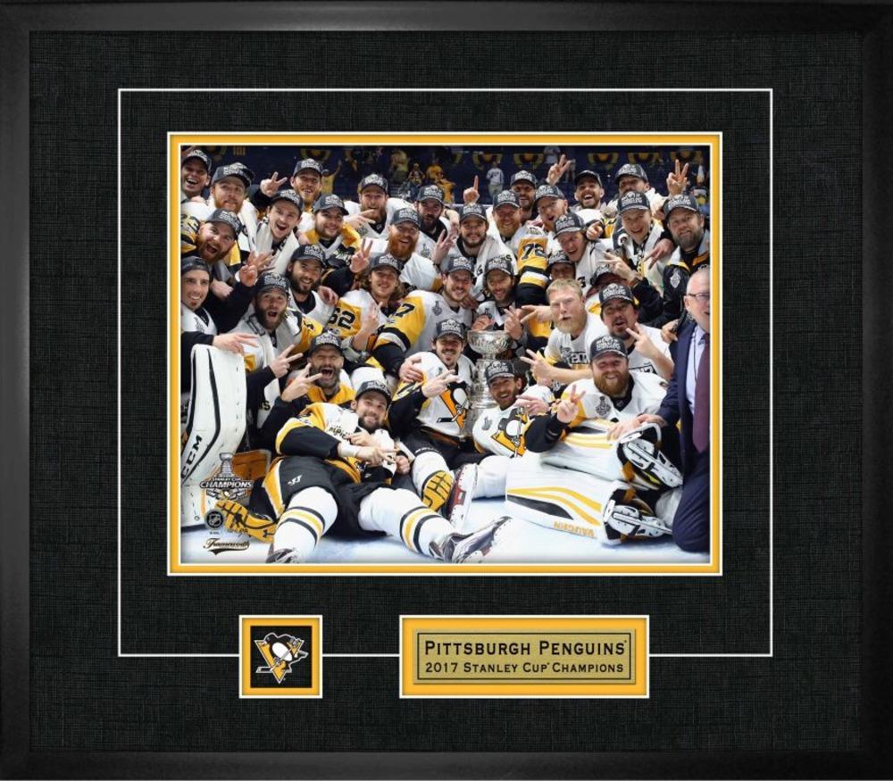Pittsburgh Penguins - Framed 8x10 Photo & Logo Frame Team Celebration 2017 Stanley Cup