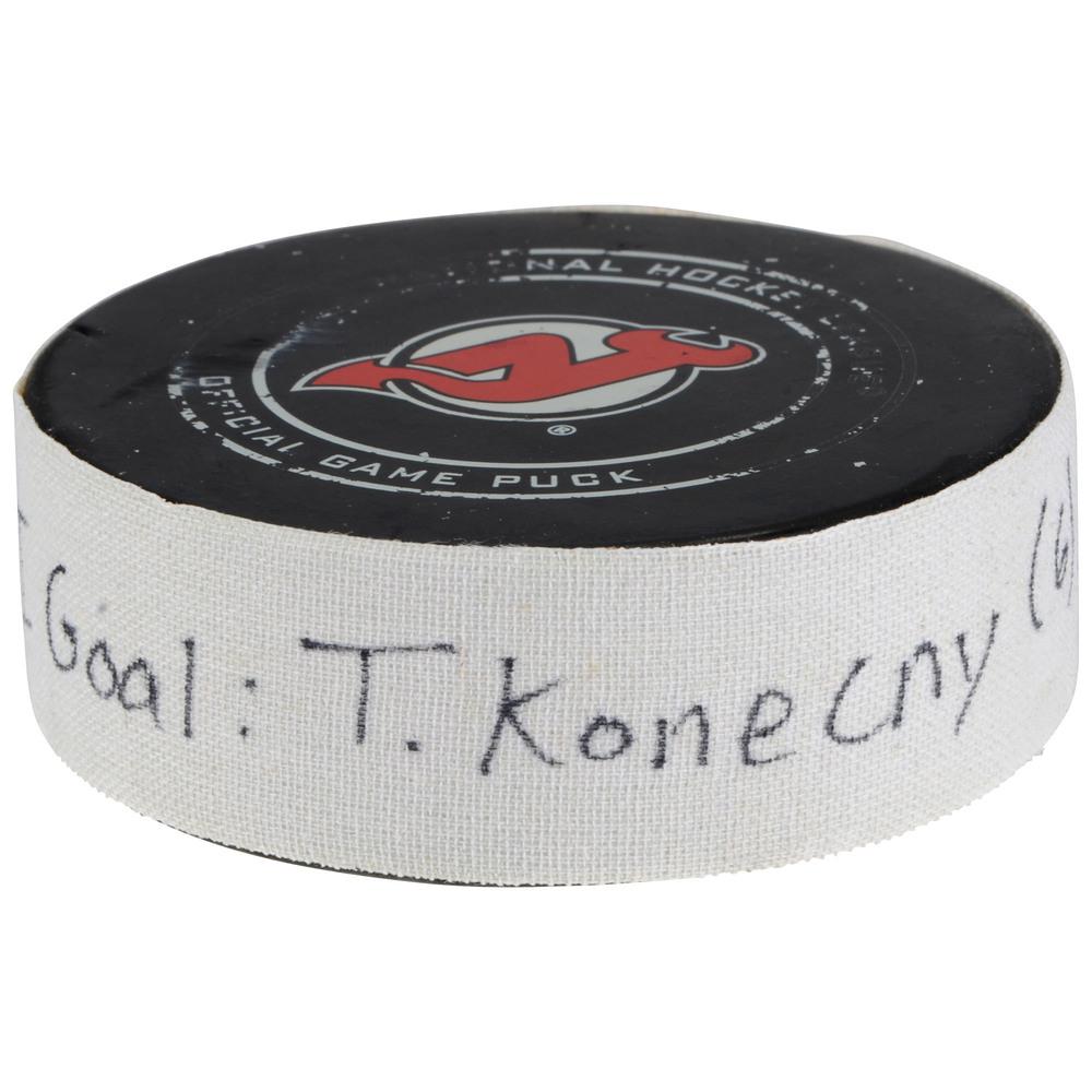 Travis Konecny Philadelphia Flyers Game-Used Goal Puck vs. New Jersey Devils on January 13, 2018