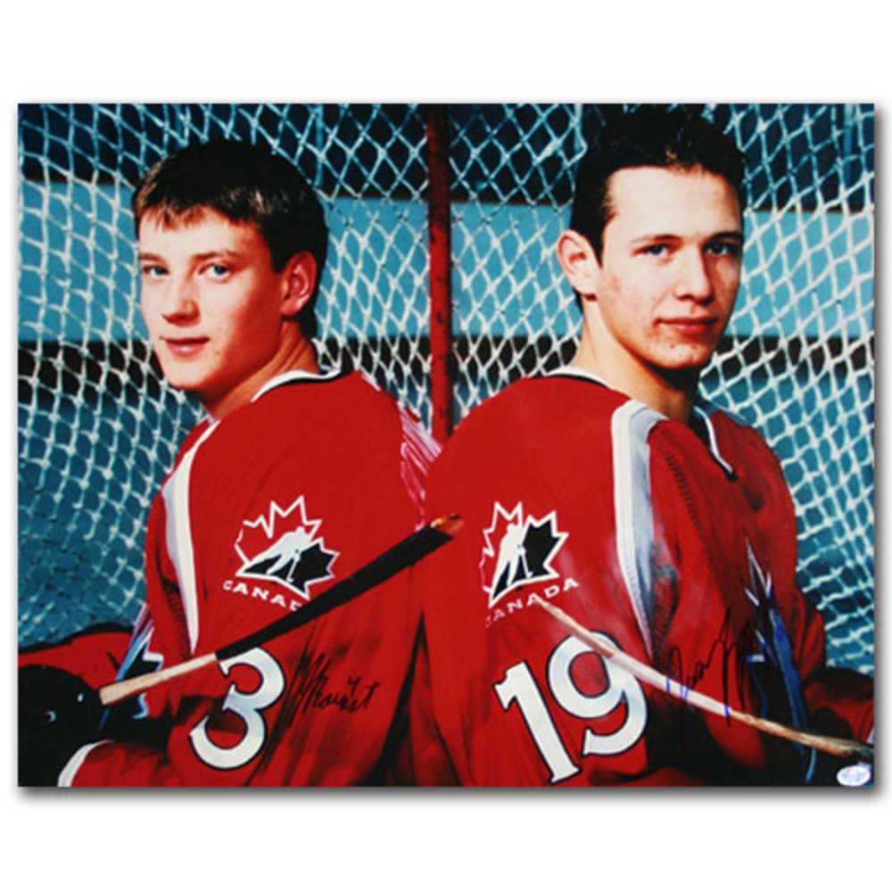 Jay Bouwmeester & Jason Spezza Autographed Team Canada World Junior 16X20 Photo (St. Louis Blues, Ottawa Senators)