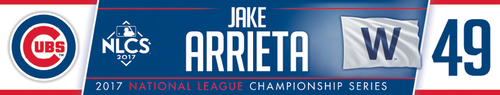 Photo of Jake Arrieta Game-Used Locker Nameplate -- NLCS Game 4 -- Dodgers vs. Cubs -- 10/18/17