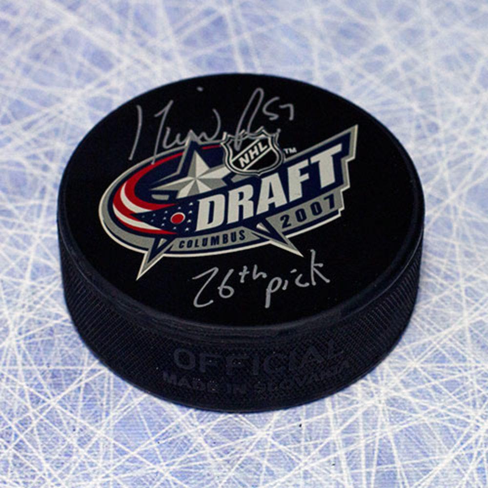 David Perron 2007 NHL Draft Day Puck Autographed w/ 26nd Pick Inscription *Las Vegas Golden Knights*
