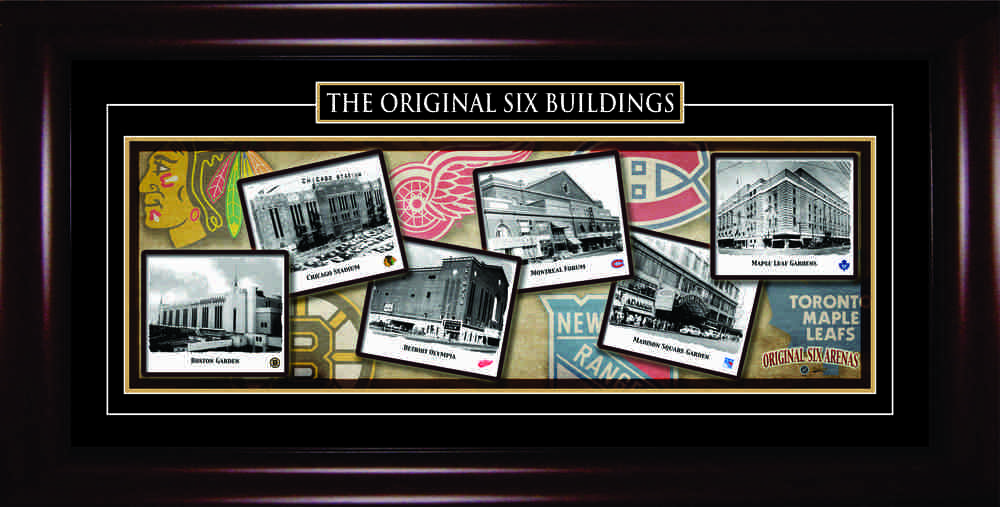 Original Six Buildings - Framed 11x34 Panorama Etched Mat