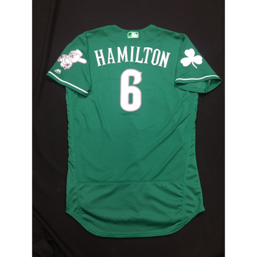 Photo of Billy Hamilton -- Game-Used -- Irish Heritage Jersey -- Worn for Bronson Arroyo Farewell Game -- Red Sox vs. Reds -- 9/23/17