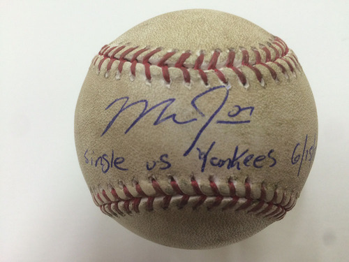 Photo of Mike Trout Autographed Game-Used Baseball - Single Vs Yankees