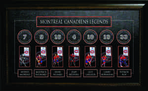 Montreal Canadiens - Framed All Time Greats Banner -  Howie Morenz, Maurice Richard, Henri Richard, Jean Beliveau, Guy Lafleur, Larry Robinson, & Patrick Roy