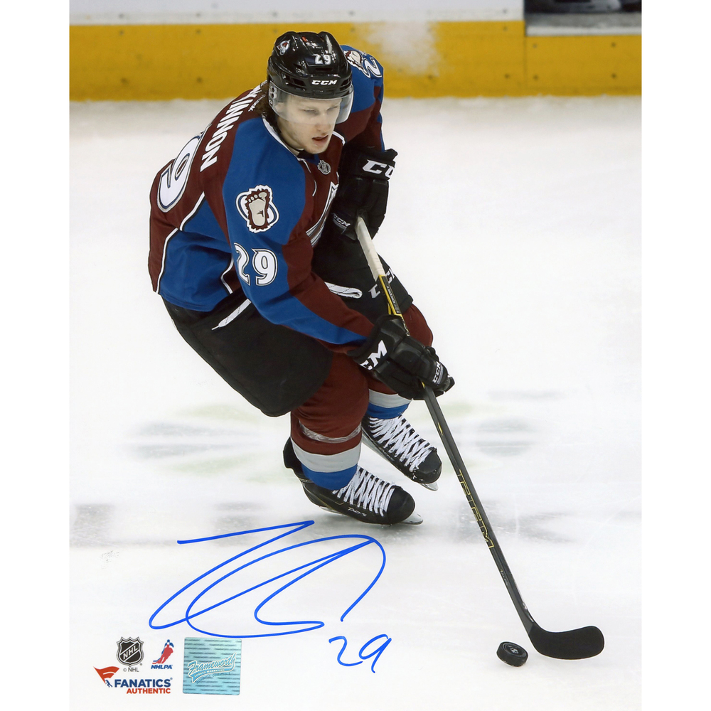 Nathan MacKinnon Colorado Avalanche Autographed 8'' x 10'' Burgundy Uniform Skating Photograph - Frameworth